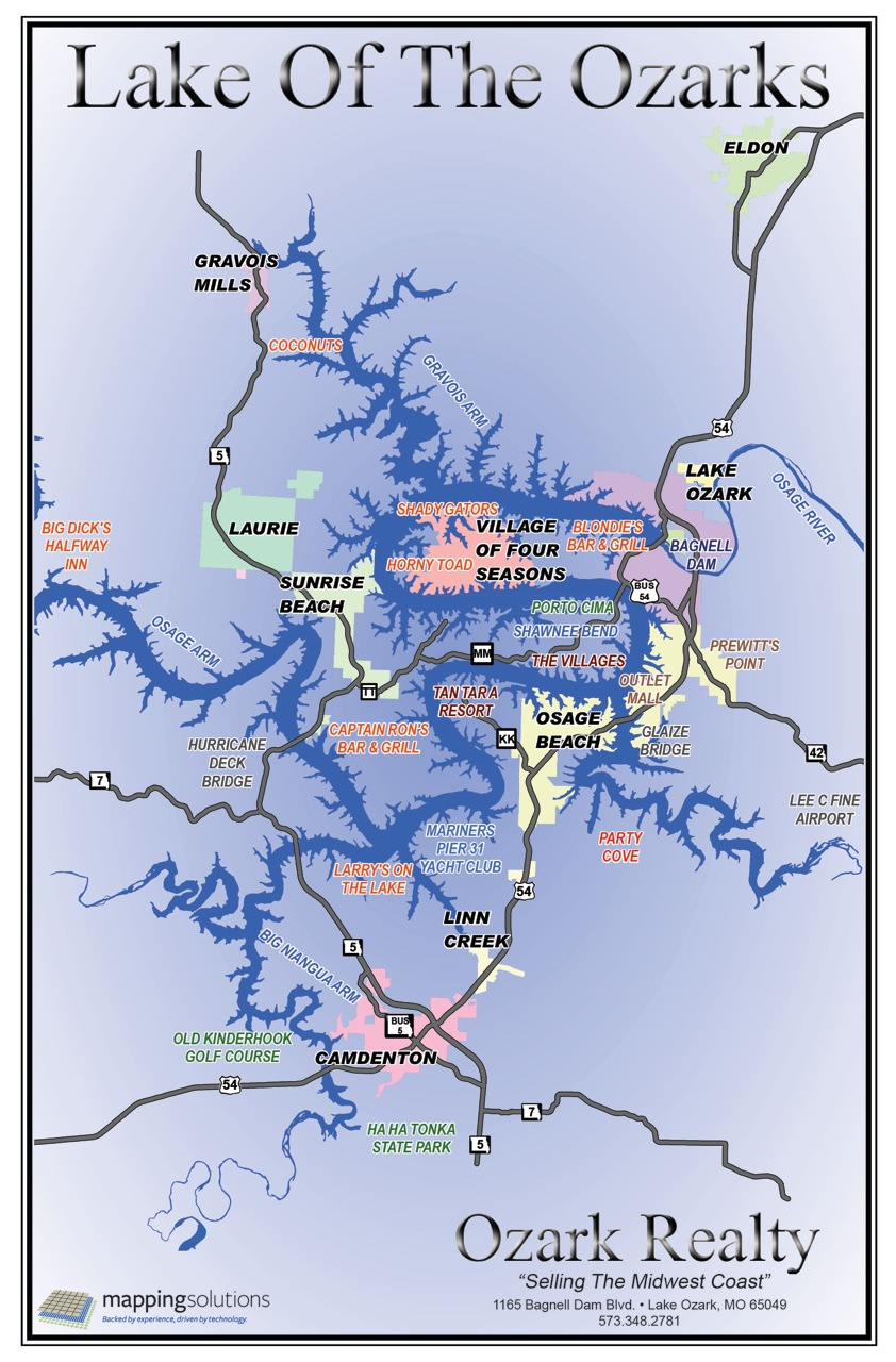 Lake of the ozarks map for Lake of the ozarks fishing